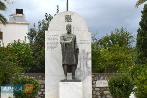 The statue of Constantine Palaiologos after the bomb attack, last Friday. The vandals sprayed the